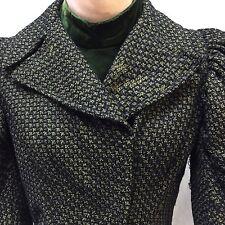 Victorian Boned Bodice Black Green Wool Tweed Velvet Collar Dickey Waist Blouse