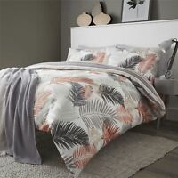 Fusion Tropical Palm Leaf Reversible Duvet Cover Bedding Set Orange Copper Grey