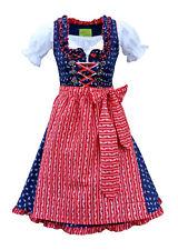 Dirndl Trachtenkleid Minidirndl mit Bluse 3 tlg. Blau Rot Blumen B-Ware - Tina