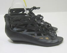 Summer Black Lace Up Open Toe Womens Shoes Roman Gladiator Sandals Size 5.5