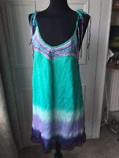 Turquoise & Purple Hand Painted Silk Tie Dye Elissa Coleman Dress