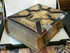 Antique Holy Bible King James 1885 metal clasp gilt Family Pages BEAUTIFUL