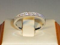 Damen festen 925 Sterling Silber strahlend weißen Saphir 2 row Ewigkeit Ring
