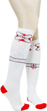 78557 Red & White Ouch Bandage Socks Knee High Roller Derby Punk Rock Sourpuss