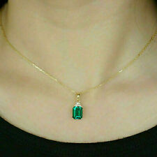 """4.00 CT Colombian Emerald Pendant 18"""" Chain 14K Yellow Gold Over wedding Gift"""