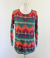 Denim and Supply Ralph Lauren Aztec Print Knit Sweater Size S Teal Orange Boho