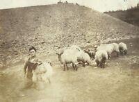 West Virginia Farmer Holding Sheep Appalachia Kentucky Vintage Photo