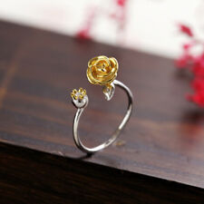 Elegant Woman's Rose Flower Ring Silver Plated Adjustable Wrap Open Ring