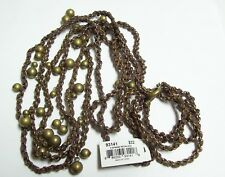 COOKIE LEE Leather & Gold Bead Triple Strand Necklace - nwt