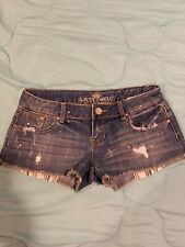 Jean Shorts Almost Famous Size 7 Distressed Striped Pockets