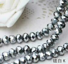 Faceted Rondelle Bicone Glass Crystal Loose DIY Beads Assorted 4mm 71pc Silver