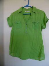 Ladies OLD NAVY  LIME GREEN Gauze  Short Sleeve Henley Shirt Top Blouse  Sz S