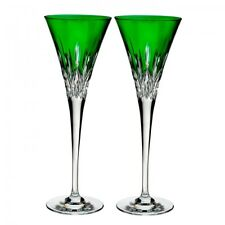 Waterford Lismore Pops Emerald Toasting Flute Pair #40019533 Brand New