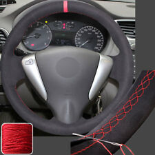 Suede Steering Wheel Covers Wrap for Nissan Sentra 13-15 Versa 15-17 Note 14 16