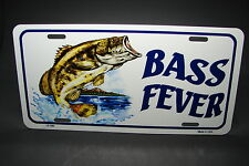 BASS FEVER METAL NOVELTY CAR LICENSE PLATE TAG FISHING WATERSPORTS