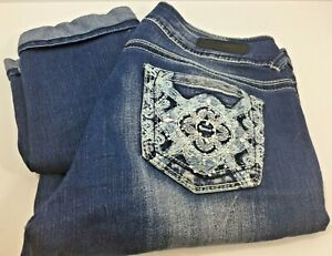 Wallflower Jeans Indigo Denim Capris Cuffed Embellished Juniors Size 7 Free Ship