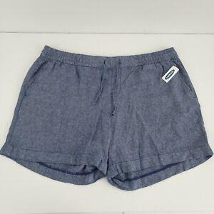 Old Navy Women's Blue Chambray Linen Blend Shorts Drawstring Waist Pockets XL