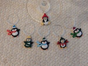 """""""HOLIDAY PENGUINS"""" SET OF 6 HAND CRAFTED  Wine glass drink marker Charms"""