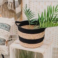 Sass & Belle Black Rope & Grass Stripe Storage Basket Scandi Boho Plant Pot