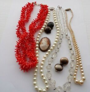Vintage Jewellery Mixed lot Faux Coral/ Pearl Necklaces / Cameo Brooch