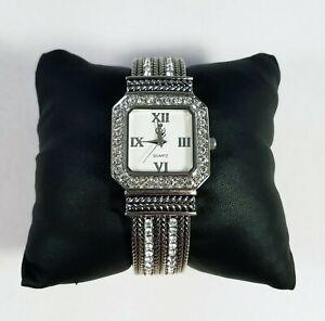 PREMIER DESIGNS 'Tribute' EUC Silver Crystal Hinge Cuff Bracelet Wrist Watch