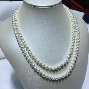 36 inch AAA 7-8mm Akoya white pearl necklace 14k Yellow Gold Clasp