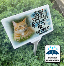 Cat Grave marker, Personalised pet garden memorial, Ground stake & photo plaque.
