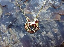 HORSE JEWELRY Dressage horse in horseshoe Gold Plated necklace Zimmer design