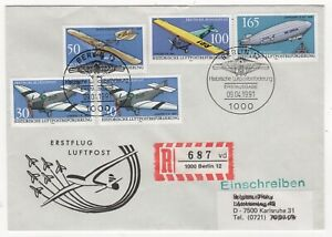 1991 GERMANY Registered First Day Cover FLIGHT DELIVERY HISTORY Berlin-Karlsruhe