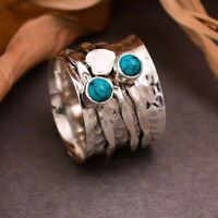 Turquoise Stone Solid 925 Sterling silver band ring handmade vintage style mk51