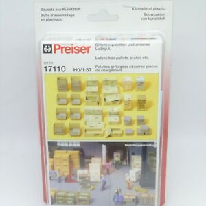 Preiser HO / OO Boxes, Pallets and Crates Kit - Brand New