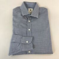 Mens Hackett Mayfair Brushed Pow Grey Blue Long Sleeve Shirt Size L Slim Fit