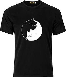 YIN AND YANG CAT DESIGN 100% FULL COLOUR COTTON  T SHIRT