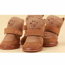 Warm Winter Pet Dog Boots Puppy Shoes For Small Dog Brown  SIZE M + Hook Y