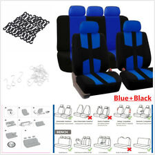 Universal Car Seat Covers 9p Set Full Styling Seat Cover Blue+ Black For 5Seats