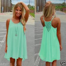 US Women's Summer Casual Sleeveless Evening Party Beach Dress Short Mini Dress