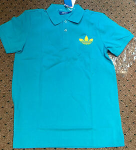 NEW S Adidas Originals Small Men's Trefoil Pique Polo Cyan Sun Blue W56061