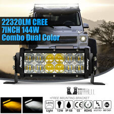 "7""INCH CREE 144W LED Work Light Bar Spot Flood Combo Driving Lamp 4X4WD SUV ATV"