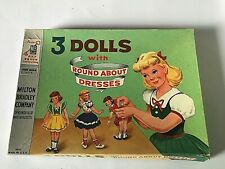 Vintage Milton Bradley 3 Dolls with Round About Dresses #4414