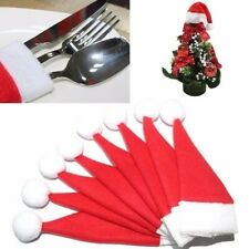 10Pcs Christmas Silverware Holder Mini Xmas Tree Santa Claus Christmas Hat Decor