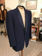 Vtg Dated1950 Navy Blue Striped Wool Lapel Formal Tuxedo/Suit Jacket/Custom Made
