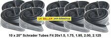 """20"""" 20 x 1.50 -1.75 -1.95 - 2.125 Wholesale Tube x 10 Schrader BMX Mountain Bike"""