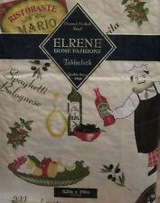 Fat Chef Ristorante Pizzeria vinyl flannel backed tablecloth tablecover 52 x70