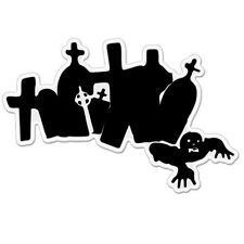 """Zombie Tombs Cemetery Scary car bumper sticker decal 6"""" x 4"""""""