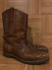 Vintage🔥 Red Wing Pecos USA Brown Leather Aged Pull On Boots Sz 12 A Narrow LE
