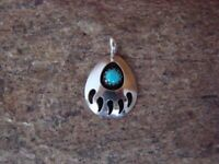 SMALL Navajo Indian Jewelry Handmade Sterling Silver Turquoise Bear Paw Pendant!