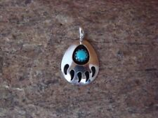 Navajo Indian Jewelry Handmade Sterling Silver Turquoise Bear Paw Pendant