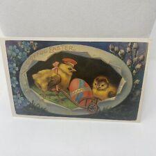 Vintage Postcard Joyful Easter Chicks Eggs Floral Greetings