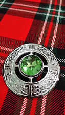 TC Fly Plaid Brooches Sea Green Stone Celtic Knot Work Chrome/Celtic Brooch 3""
