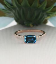 14k Solid Gold Natural Diamond & London Blue Topaz Emerald Stackable Prong Ring